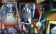 A Fox affiliate in New York censored Picasso's Women of Algiers (Version O) when reporting on the painting's recent sale at auction. Photograph: Jerry Saltz/Twitter