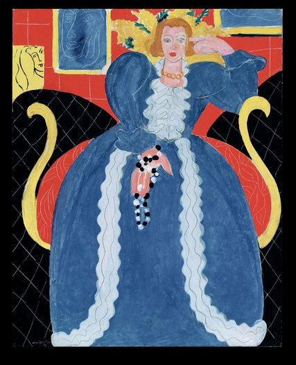 """Woman in Blue,"" 1937, by Henri Matisse.  In the Stedelijk exhibition, the work is displayed next to a blue silk skirt that Matisse had designed for the model. Credit 2015 Succession H. Matisse/Artists Rights Society (ARS), New York/Pictoright Amsterdam 2014"