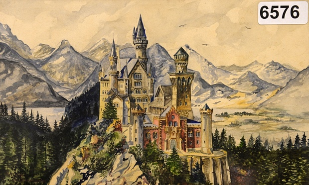 A watercolour painting of Neuschwanstein castle, signed A Hitler. Photograph: Christof Stache/AFP/Getty Images