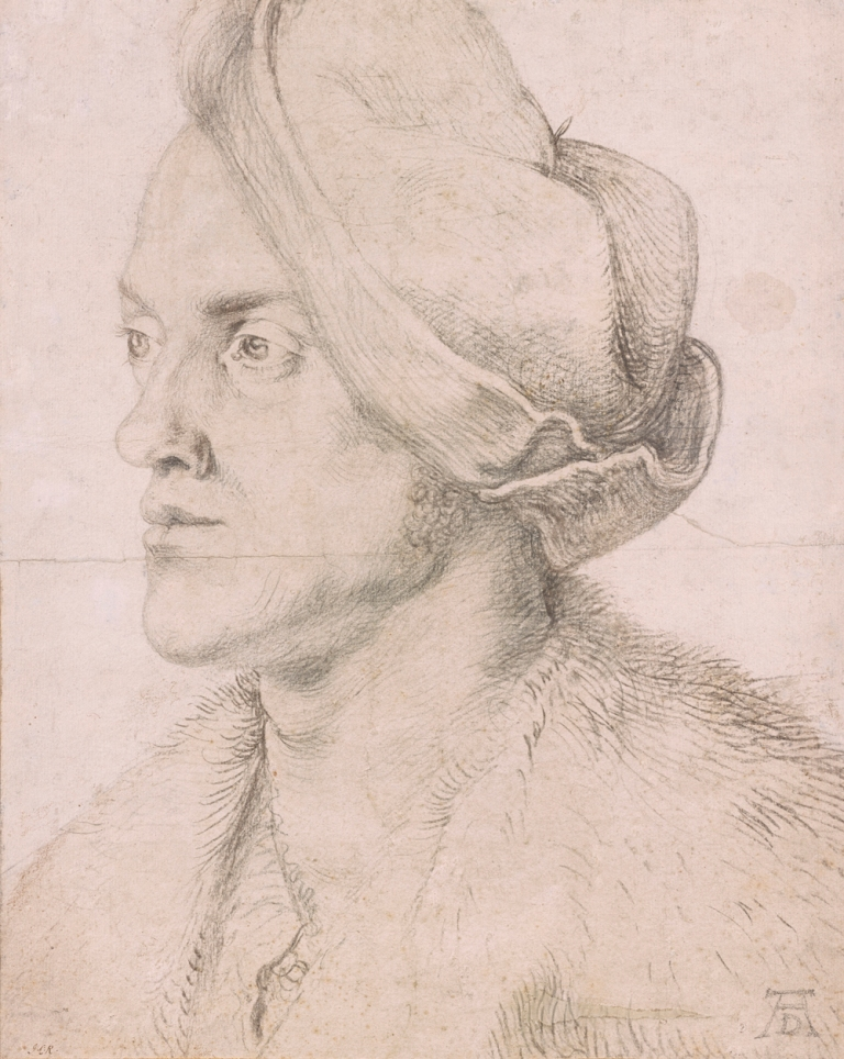 "Albrecht Dürer, ""Portrait of the Artist's Brother Endres"" (ca. 1518). Charcoal on paper, background heightened with white. Gift of Mrs. Alexander Perry Morgan in memory of Alexander Perry Morgan, 1973, The Morgan Library & Museum. (all images courtesy The Morgan Library & Museum)"