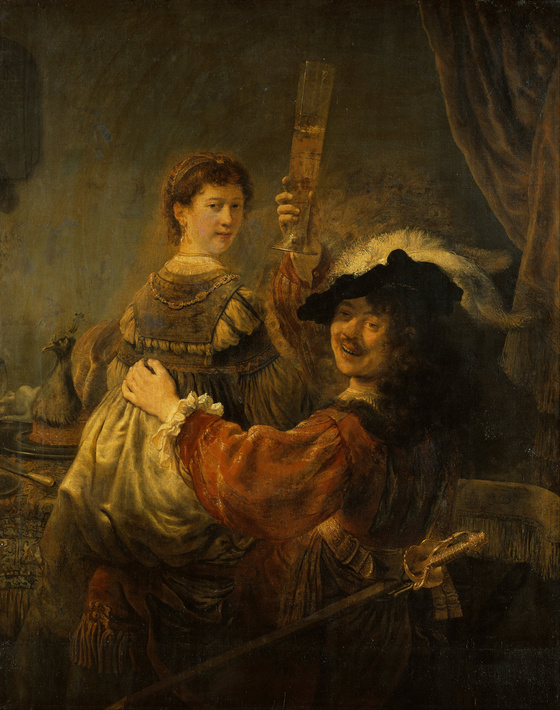 Rembrandt, Rembrandt and Saskia in the parable of the Prodigal Son (c. 1634). Oil on canvas