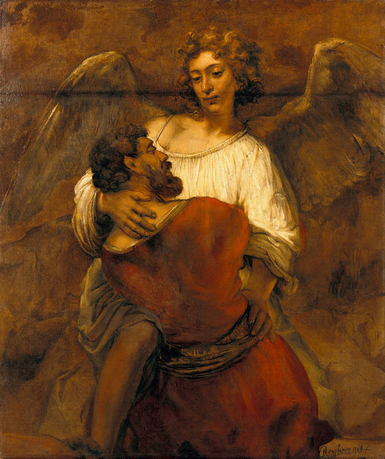 Rembrandt, Jacob Wrestling with the Angel (c. 1659). Oil on canvas