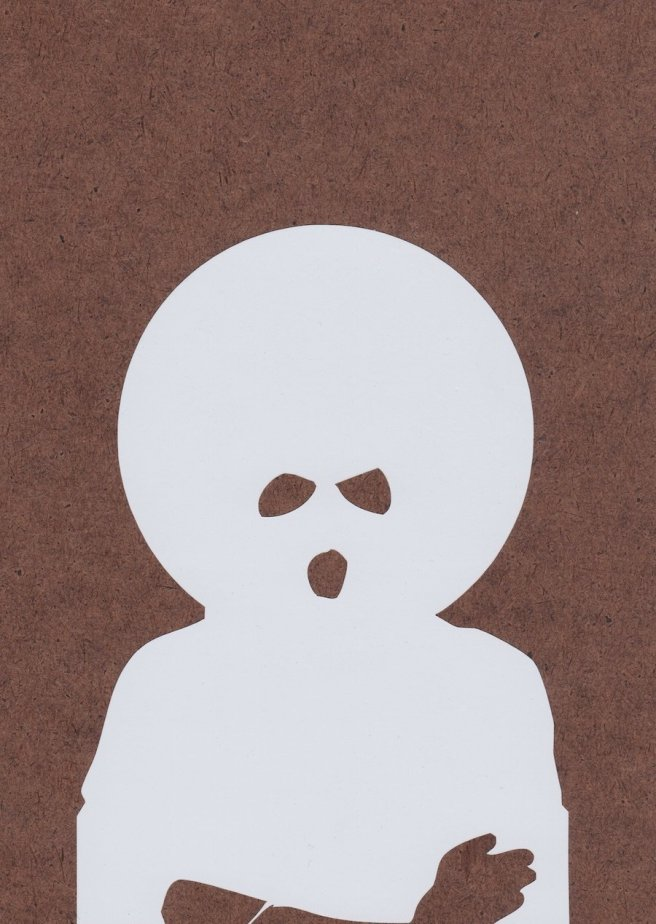 MICHAEL PAUL BRITTO, WHITE AFRO, 2012, VINYL ON GESSO BOARD, 7 X 5 IN. COURTESY OF THE ARTIST