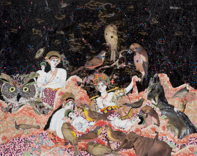 Maria Berrio, Nativity, 2014, Collage with Japanese papers, rhinestones, acrylic and watercolor on canvas, 48 x 60 in., Courtesy of Praxis Gallery and the artist