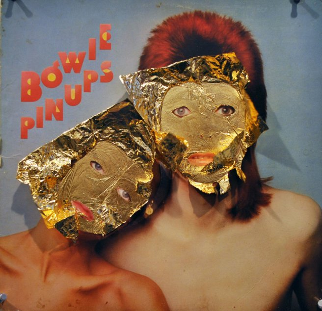 ALEX NUNEZ, PINUP,2012, GOLD LEAF ON ALBUM COVER, 12 X 12 IN., COURTESY OF THE ARTIST