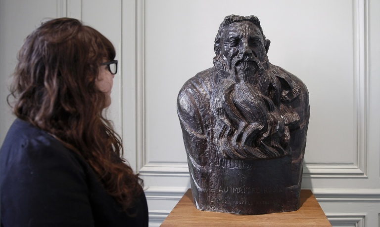 Paternal figure … a visitor looks at a bust of Rodin in the Musée Rodin. Photograph: Chesnot/Getty Images