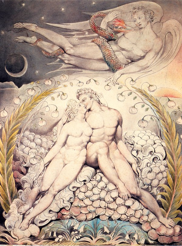 Satan Watching the Caresses of Adam and Eve'; watercolor by William Blake for John Milton's Paradise Lost, 1808