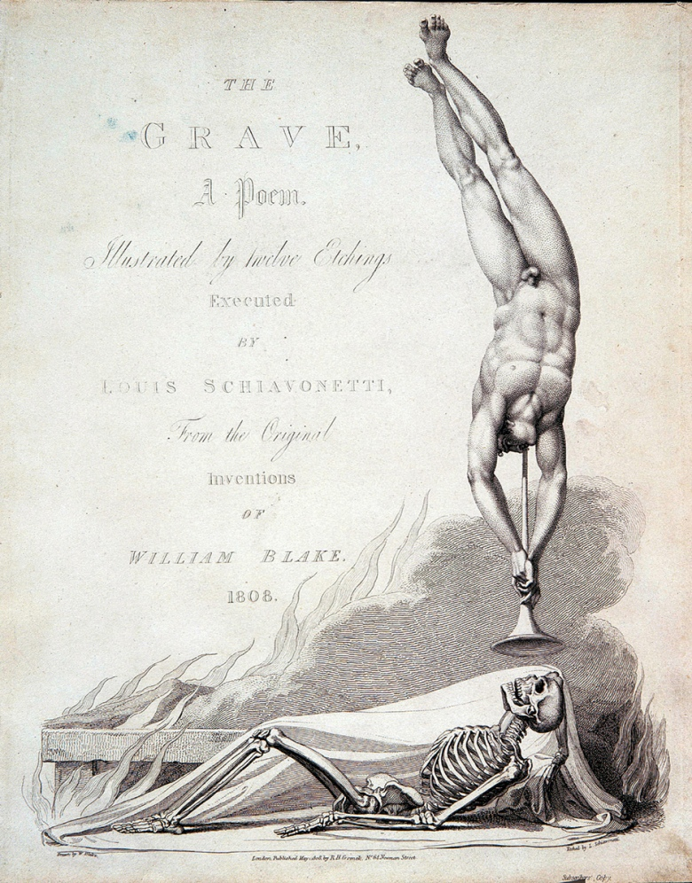 The frontispiece, designed by William Blake, of Robert Blair's poem <i data-recalc-dims=